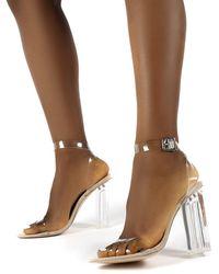 Public Desire Alia Strappy Perspex High Heels - Natural