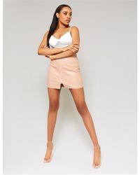 8653c3923e NA-KD. Public Desire - Nude Zip Through Pu Mini Skirt - Lyst