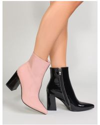 0e84d705da4 Public Desire - Chaos Contrast Pointed Toe Ankle Boots In Black And Pink  Patent - Lyst