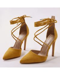 Public Desire - Aries Lace Up D'orsay Stiletto Court Heels In Mustard Faux Suede - Lyst