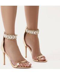 Public Desire - Fiji Diamante Barely There Stilettos In Rose Gold - Lyst