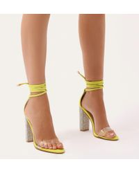 Public Desire - Fatale Diamante Perspex Lace Up Heels In Lime Green Faux Suede - Lyst