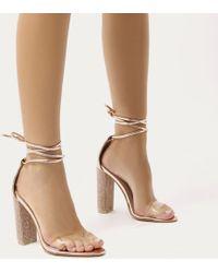 Public Desire - Fatale Diamante Perspex Lace Up Heels In Rose Gold - Lyst