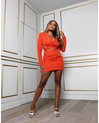 Public Desire Amber X Wrap Detail Cropped Blazer Dress With Drop Waist Orange