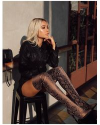 Public Desire Kimana Tan Snakeskin Heeled Over The Knee Boots - Brown