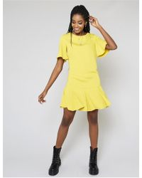 Public Desire Mustard Peplum Hem Shift Dress - Yellow