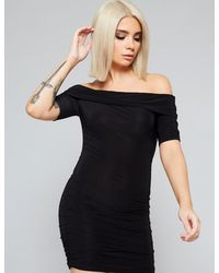 Public Desire Black Slinky Bardot Dress
