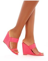 Public Desire - Lena Wedge Heeled Mules In Neon Pink - Lyst