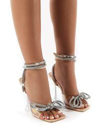 Public Desire Glimmer Nude Wrap Around Diamante Bow Square Toe Heels - Natural