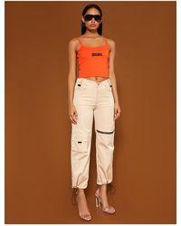 Public Desire Bright Orange Cami Slogan Crop Top