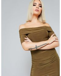 Public Desire Khaki Slinky Bardot Dress - Green