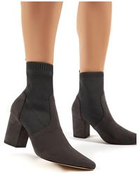 Public Desire Nuala Gray Suede Block Heeled Knitted Sock Fit Ankle Boots