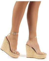 Public Desire Jourdan Clear Perspex Strap Wedge Raffia Heeled Sandals - Brown