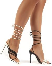 Public Desire Controversial Mono Strappy Lace Up High Heels - Brown