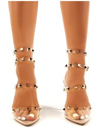 Public Desire - Hero Nude Strappy Studded Perspex Stiletto High Heels - Lyst