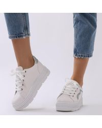 Public Desire - Payoff Platform Trainers In White And Silver - Lyst