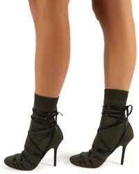 Public Desire Tamana Khaki Knitted Heeled Sock Fit Ankle Boots - Green