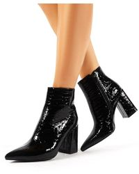 Public Desire Hollie Pointed Toe Ankle Boots In Black Croc