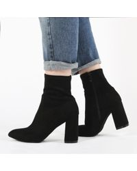 Public Desire - Raya Pointed Toe Ankle Boots In Black Faux Suede - Lyst