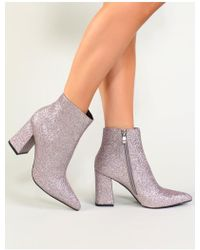Public Desire - Empire Pointed Toe Ankle Boots In Silver Glitter - Lyst