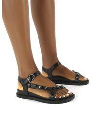 Public Desire Sadie Black Jewel Detail Flat Sandal
