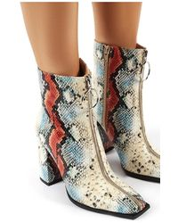 Public Desire Payback Multi Snakeskin Zip Up Block Heeled Ankle Boots - Multicolour