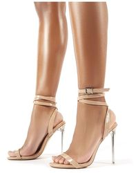 86f6bdf49dc73 Public Desire Relish Nude Patent Lace Up Perspex Stiletto Heels - Natural