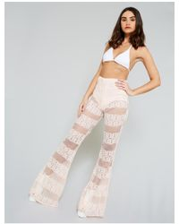 Public Desire Pink Crochet Lace Flared Trousers