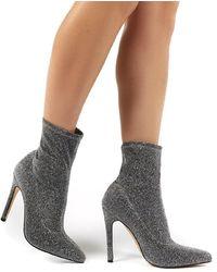 Public Desire Glitz Silver Glitter Sock Ankle Boot Heels - Multicolor