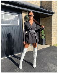 Public Desire Ruthless White Pu Over The Knee Boots