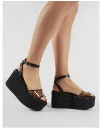 989143bb4d6 Public Desire - Tarini Perspex Espadrille Flatform Sandals In Black - Lyst