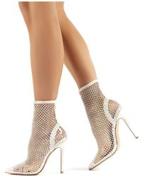 Public Desire Diamond White Diamante Fishnet Stiletto High Heels