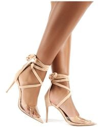 479733c84d4 Devote Nude Faux Suede Perspex Lace Up Stiletto Heels - Natural