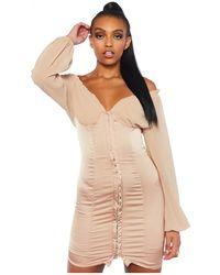 Public Desire Beige Satin Mini Dress With Corset Details - Natural