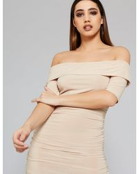 Public Desire Nude Slinky Bardot Dress - Natural