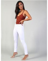 Public Desire White Superstretch High Waisted Skinny Jeans