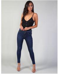 Public Desire Blue Belt Detail Skinny Jeans
