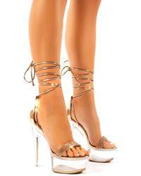 Public Desire Princess Rose Gold Diamante Lace Up Perspex Platform Stiletto High Heels - Metallic