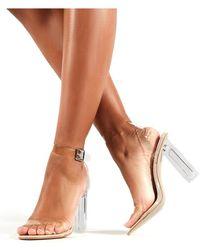 5ac3e45059 Public Desire - Alia Strappy Perspex High Heels In Clear Nude - Lyst
