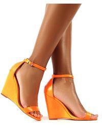 Public Desire - Nova Neon Orange Barely There Wedge Heels - Lyst