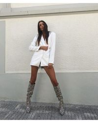 Public Desire Nicole Snakeskin Slouch Knee High Boots - Multicolor