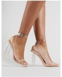 Public Desire - Alia Strappy Perspex High Heels In Clear Nude - Lyst