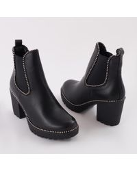 681d0a5897ce Public Desire Hallie Black Pu High Heel Chelsea Boots in Black - Lyst