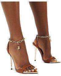 Public Desire Triumph Tan Pu Lock Chain Detail Anklet Strap Stiletto Heels - Brown