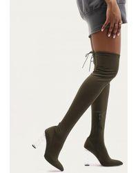 Public Desire | Tokyo Perspex Twist Heel Long Boots In Khaki Sock Fit | Lyst