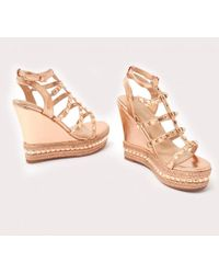 Public Desire - Sally Gladiator Studded Wedges In Rose Gold - Lyst