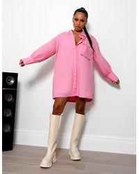 Public Desire Amber X Pocket Detail Oversized Shirt Dress Pink