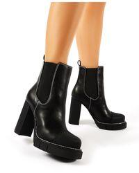 d89210eda10 Antix Black Contrast Stitch Platform Block Heeled Ankle Boots