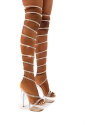 Public Desire Hypnotised Nude Diamante Thigh High Wrap Around Perspex Platform Stiletto Heels - Multicolour