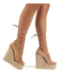 Public Desire - Luciana Rose Gold Lace Up Espadrille Wedge Heeled Sandals - Lyst